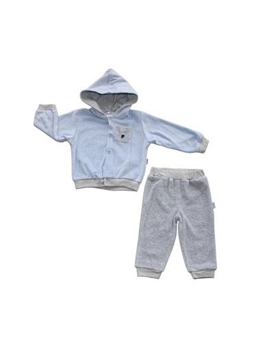 By Bebek Odam By Bebek Odam Pierre Cardin Kapüşonlu Uzun Kol Kadife Lisan Puanlı 2'Li   Bebek Takım Mavi